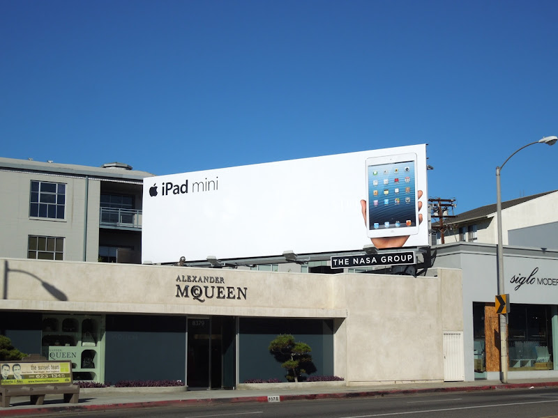 white iPad mini billboard