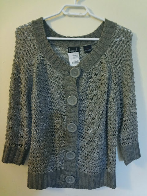 Grey taupe loose knit cardigan with large buttons, Kersh