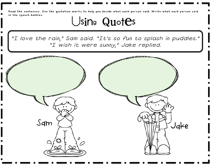 Sarahs First Grade Snippets Using Quotation marks – Quotation Marks Worksheets