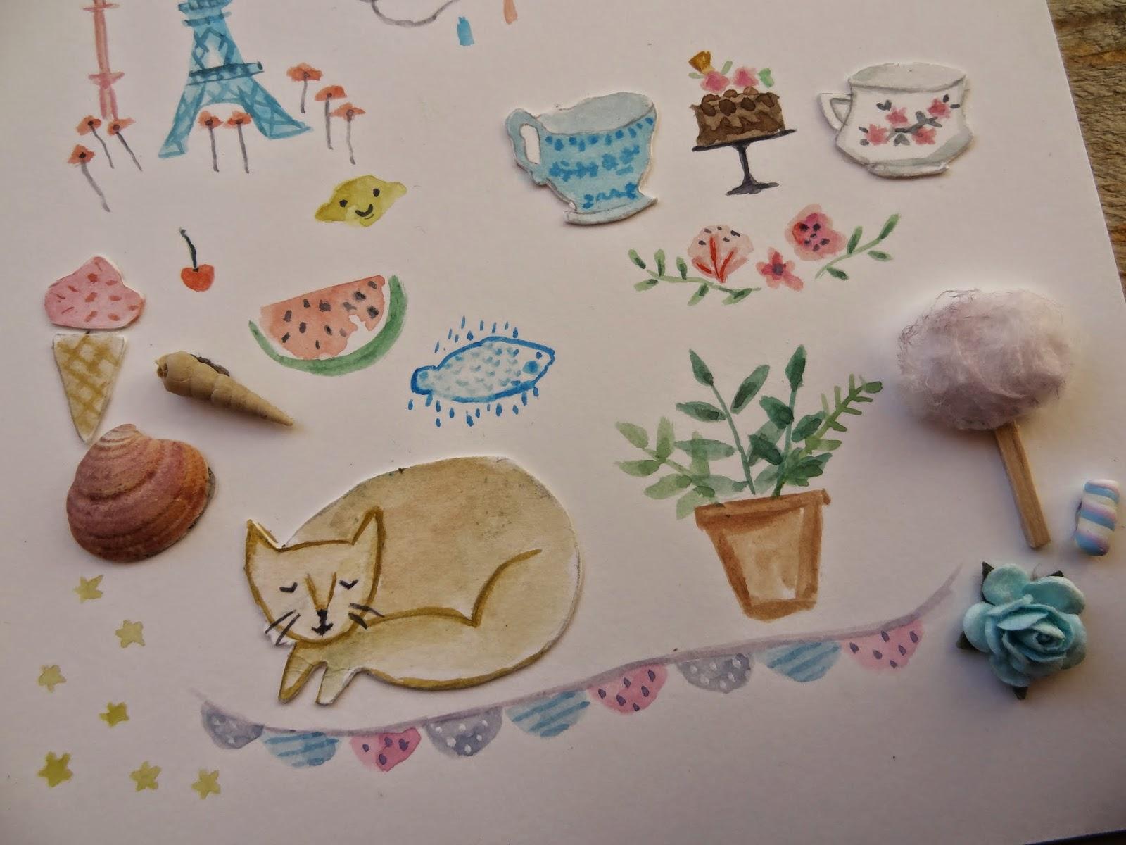 flowers flores gato cat stars ilustraciones dibujo paint ilustracion paper flower cherry lemon limón cereza