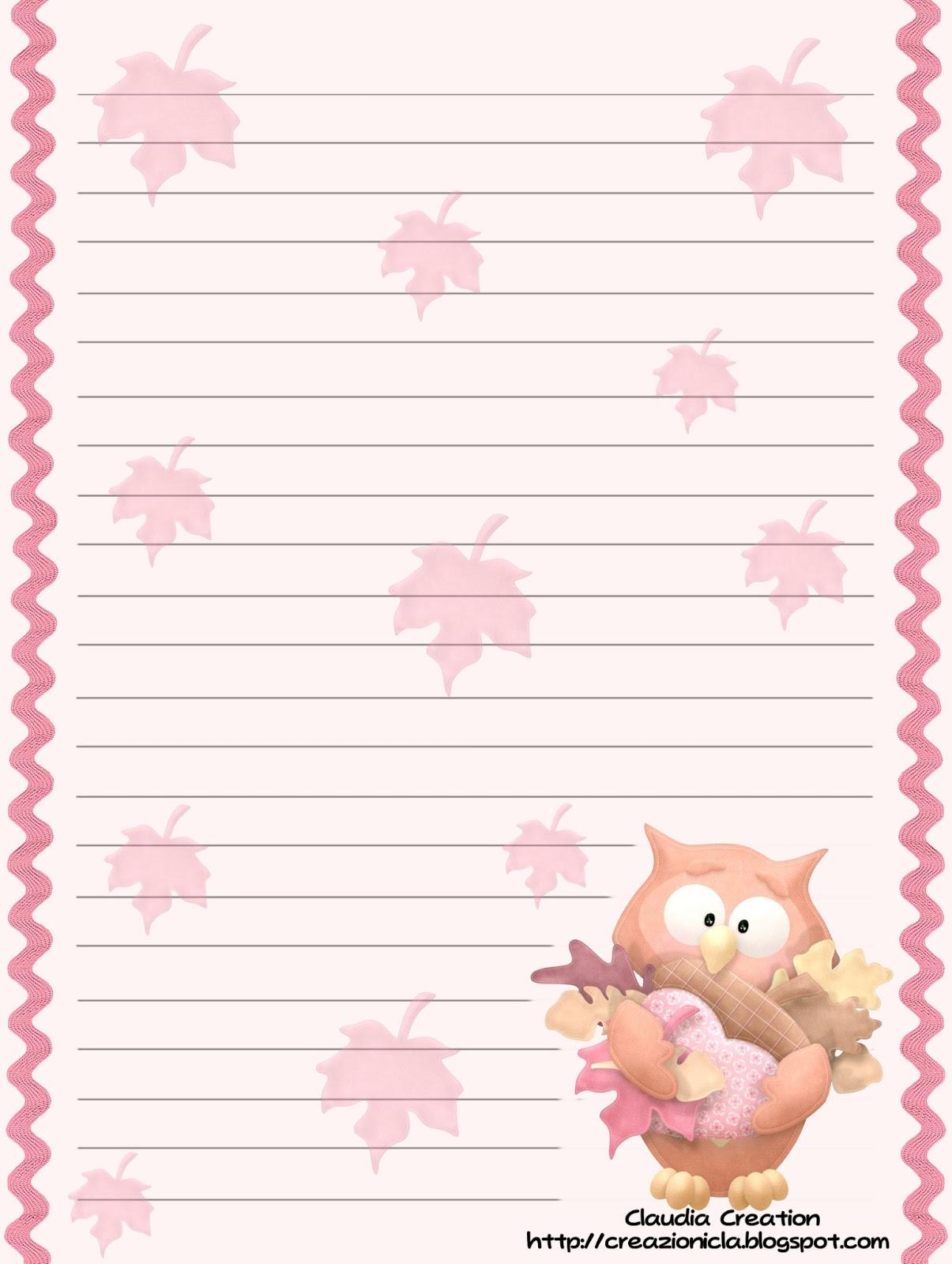 Il mio angolo creativo carta da lettere gufetti - Caduta fogli di colore stampabili ...