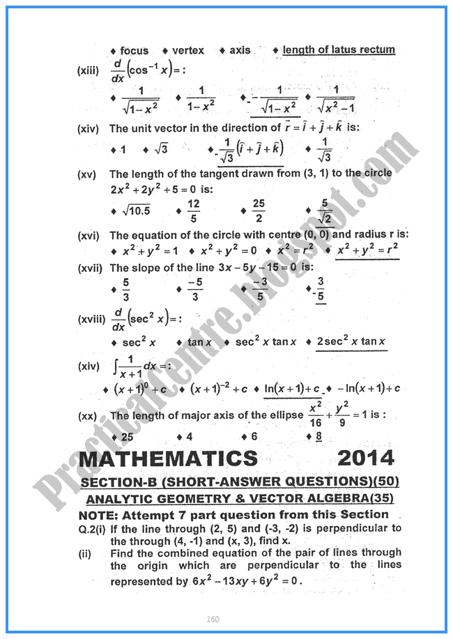 Mathematics-2014-Five-year-paper-class-XII