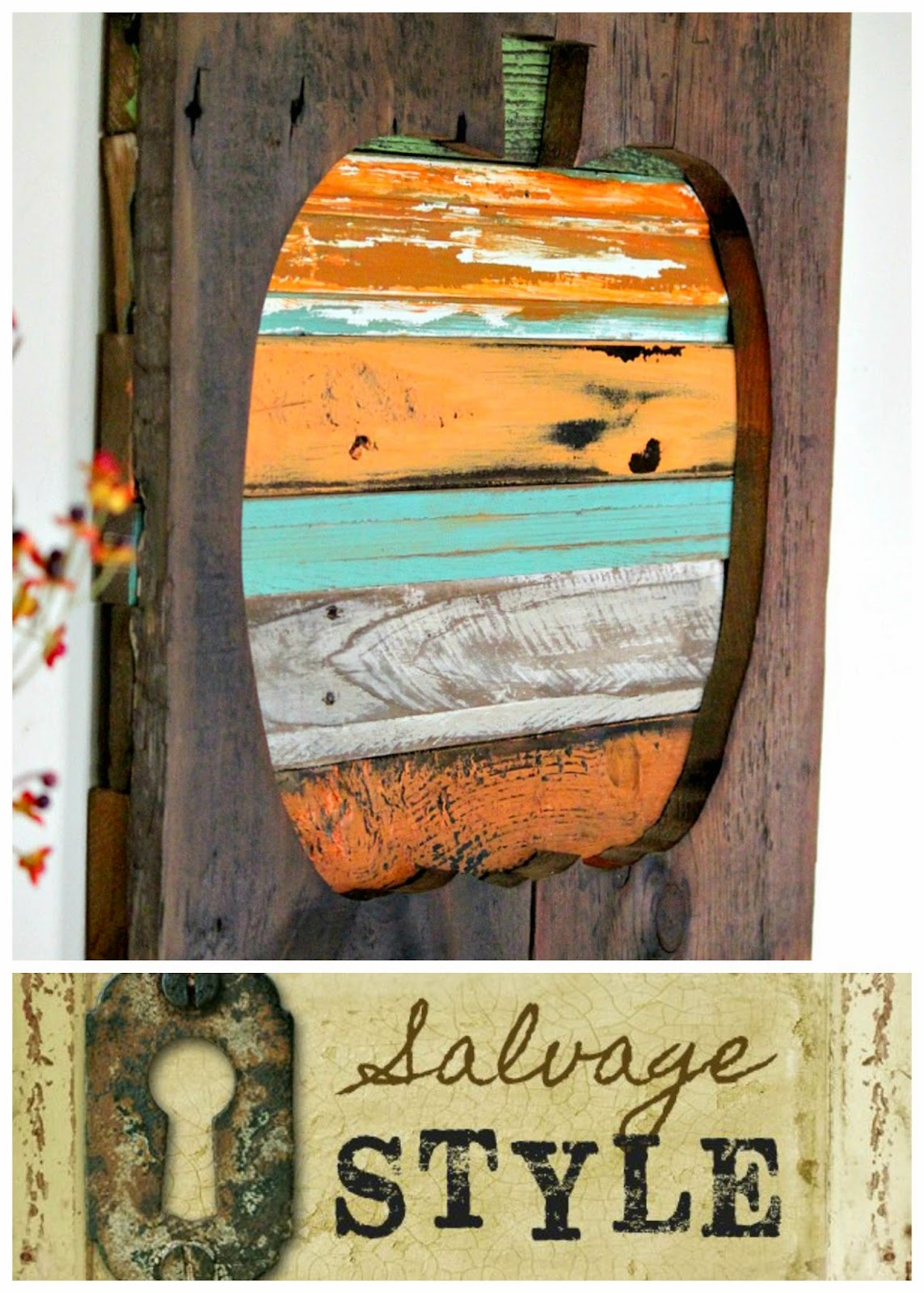 salvaged reclaimed wood pumpkin http://bec4-beyondthepicketfence.blogspot.com/2014/10/salvage-style-reclaimed-wood-pumpkin.html