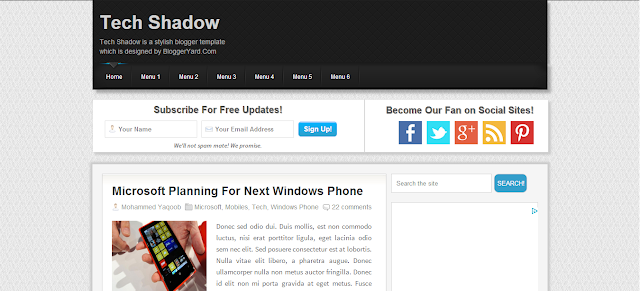 fast loading blogger templates tech shadow