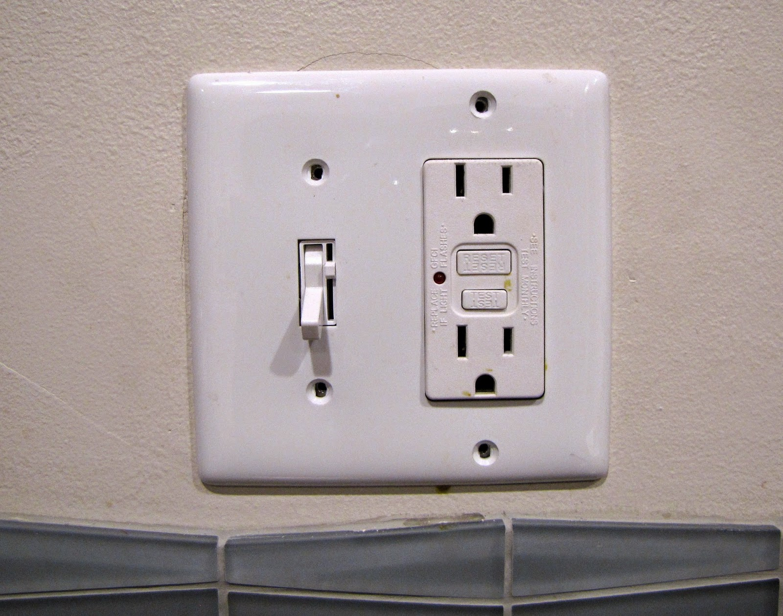 Close-up of the existing switch plate