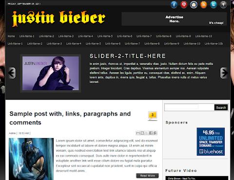 Justin Bieber Blogger Theme