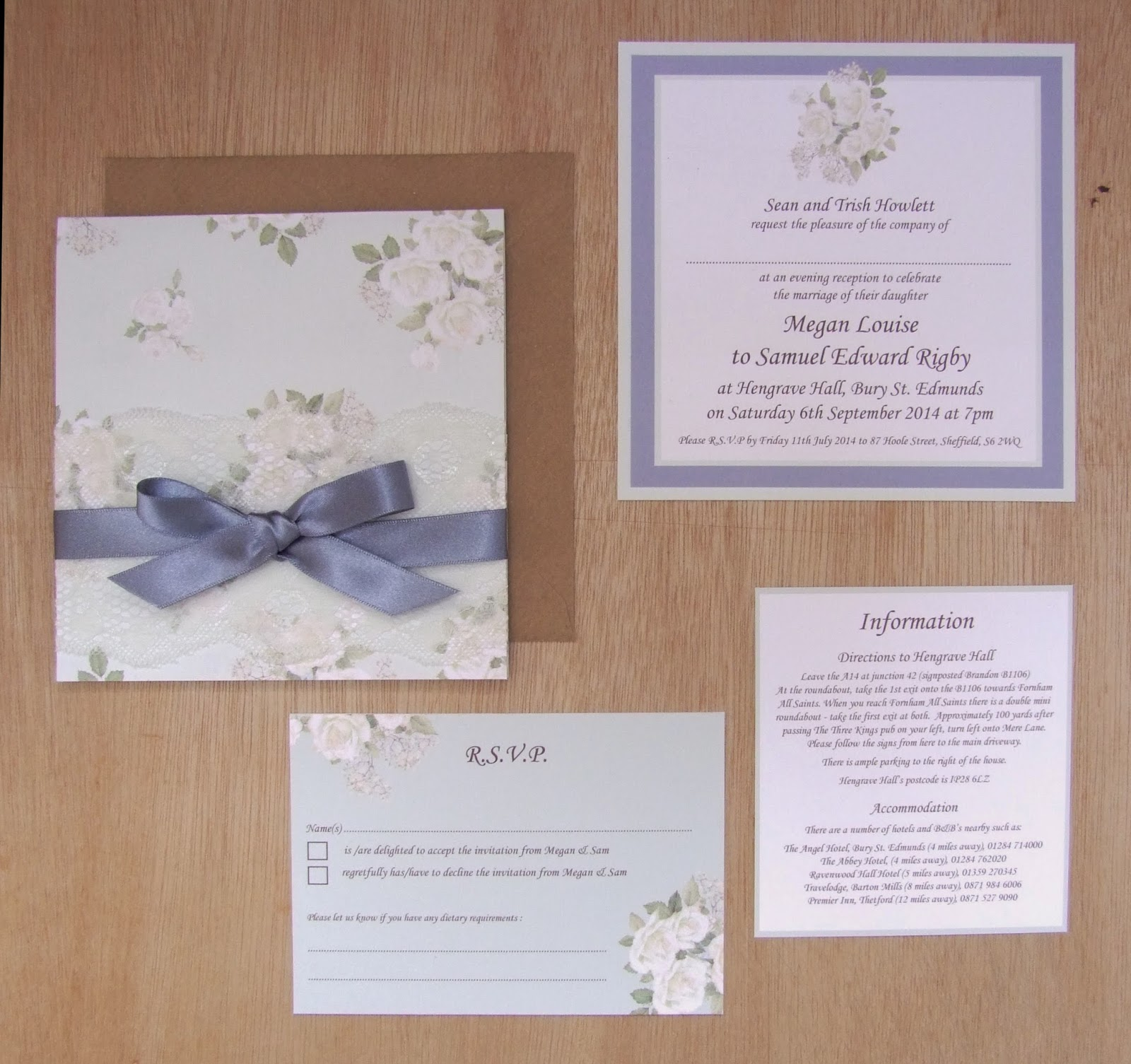 Knots and Kisses Wedding Stationery: Mauve & Pale Green Floral ...