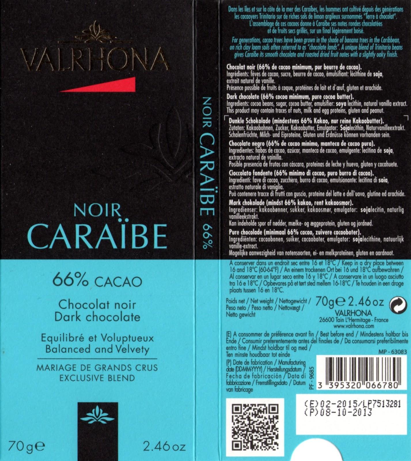 tablette de chocolat noir dégustation valrhona noir caraïbe 66