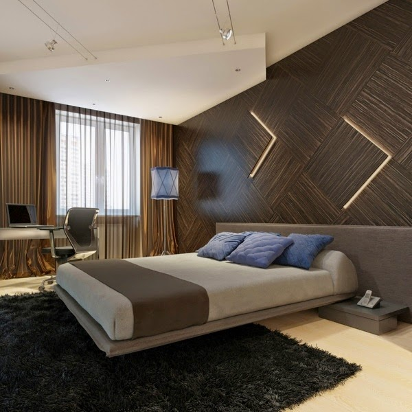 wooden wall paneling in the bedroom