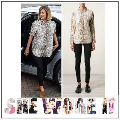 Brown, Button Up, Caroline Flack, Collared, Equipment, Leopard print, Long Sleeve, Pocket Detail, Shirt, Silk, The X Factor,