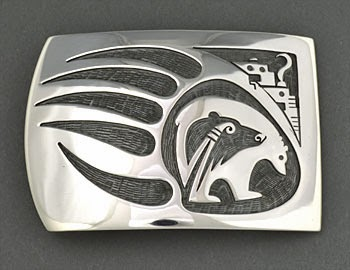 Silver Overlay Belt Buckle by Trinidad Lucas (Hopi)