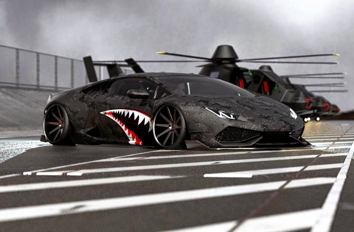 Sport Cars Lamborghini Huracan Black Matte A Fighter Plane By