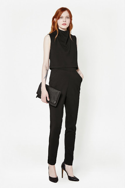 french connection playsuit, black high neck playsuit,