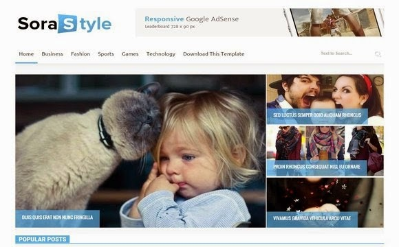 Sora Style Blogger Template Responsive 2015