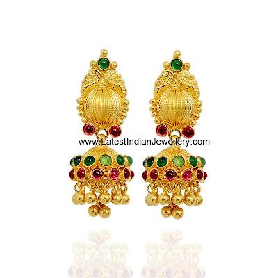 Cute Designer Gold Jhumkas