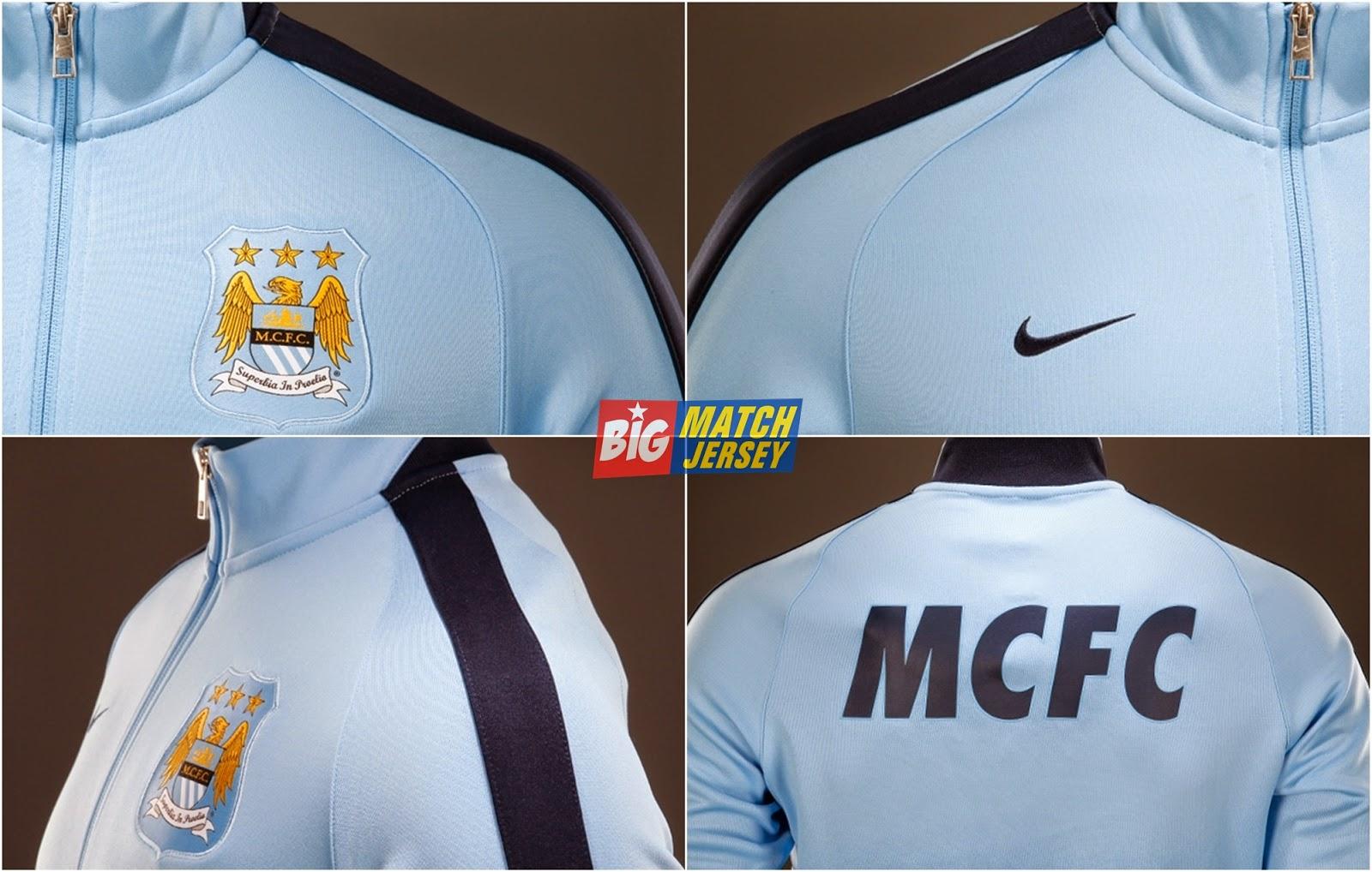 Detail Jaket Bola Grade Ori Nike Klub Manchester City Home Liga Inggri Official Musim 2014-2015 Biru Muda