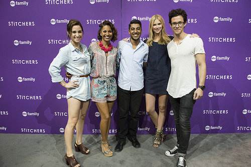 Stitchers cast Emma Ishta (Kirsten), Kyle Harris (Cameron), Ritesh Rajan (Linus), Salli Richardson-Whitfield (Maggie) and Allison Scagliotti (Camille) at the D23 expo 2015