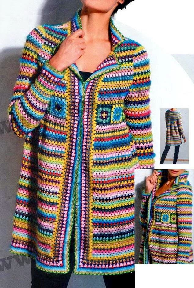 Crochet Jacket : Crochet Sweater: Crochet Pattern of Cardigan Jacket or Coat - Square ...