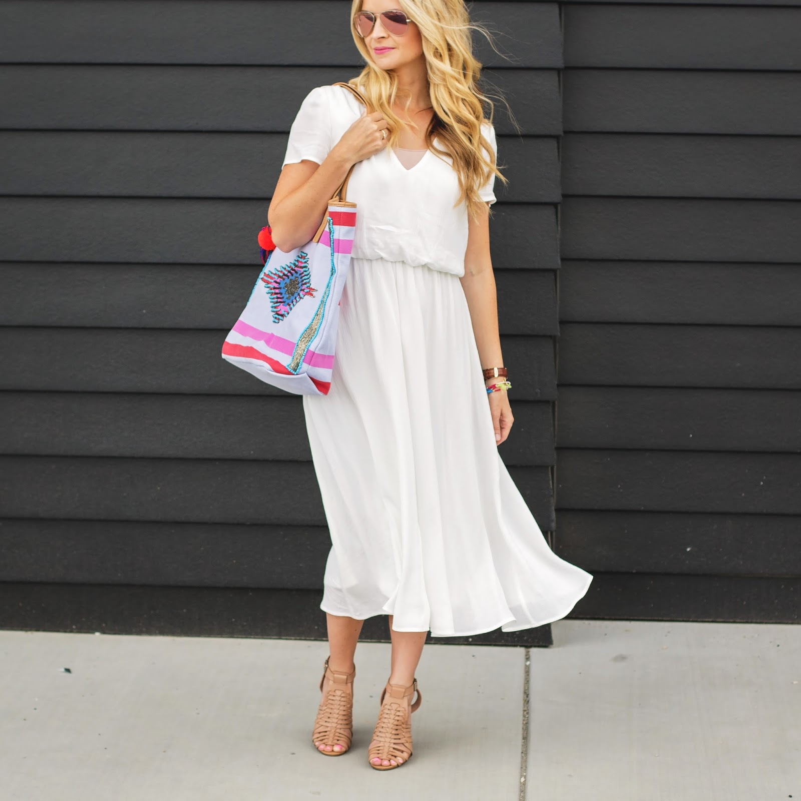 blushing basics: Summer White Midi Dress
