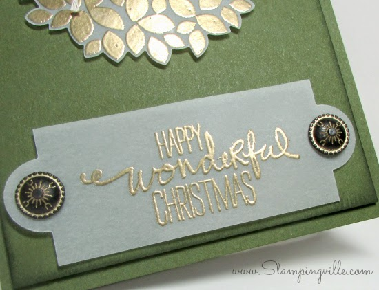 Happy Wonderful Christmas Greeting gold embossed on white vellum | Stampingville #cardmaking #papercrafts #StampinUp