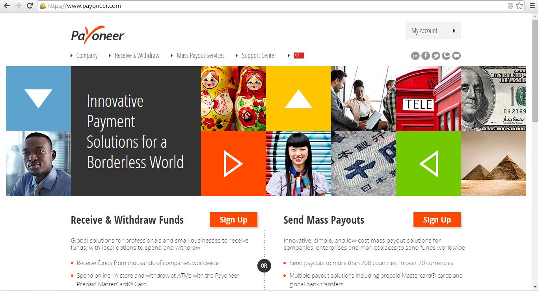 Payoneer homepage.