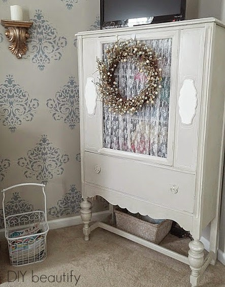 Grey Hutch in Stenciled Room www.diybeautify.com