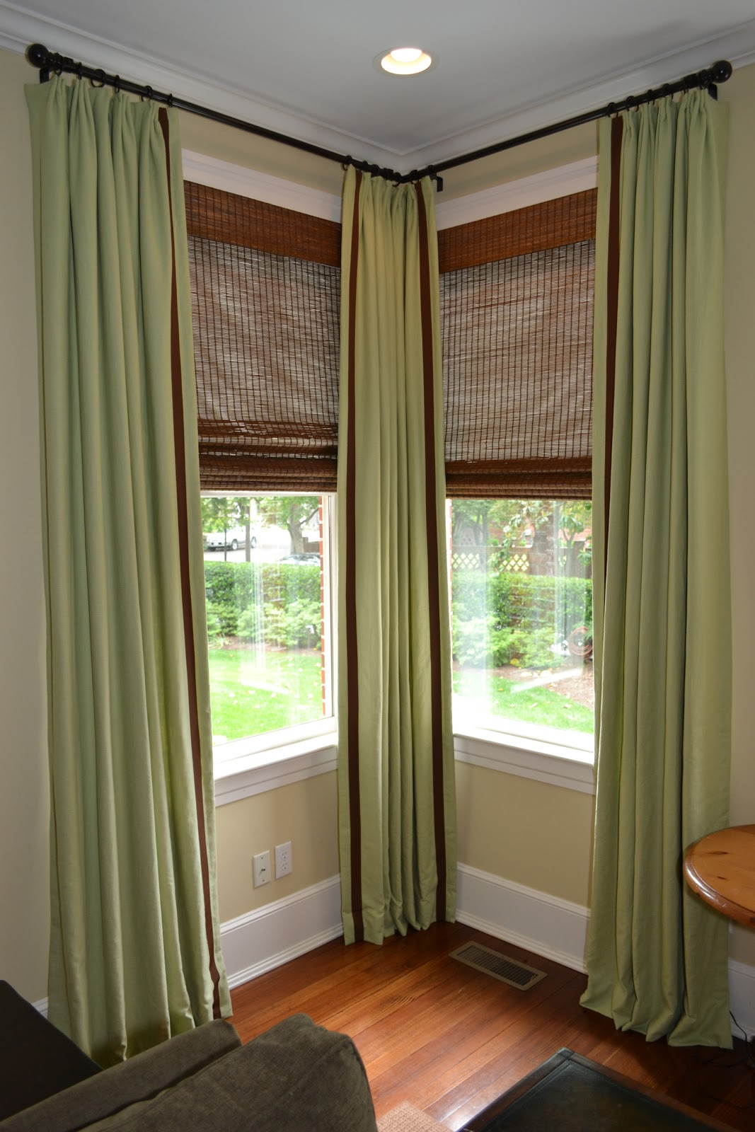 Corner window curtain ideas specs price release date for Window treatment ideas