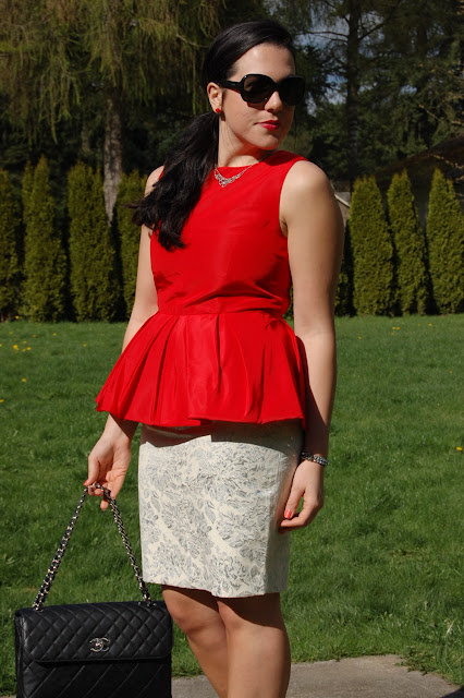 Tibi red peplum Forever 21 brocade pencil skirt, Chanel quilted handbag and Gucci patent pumps
