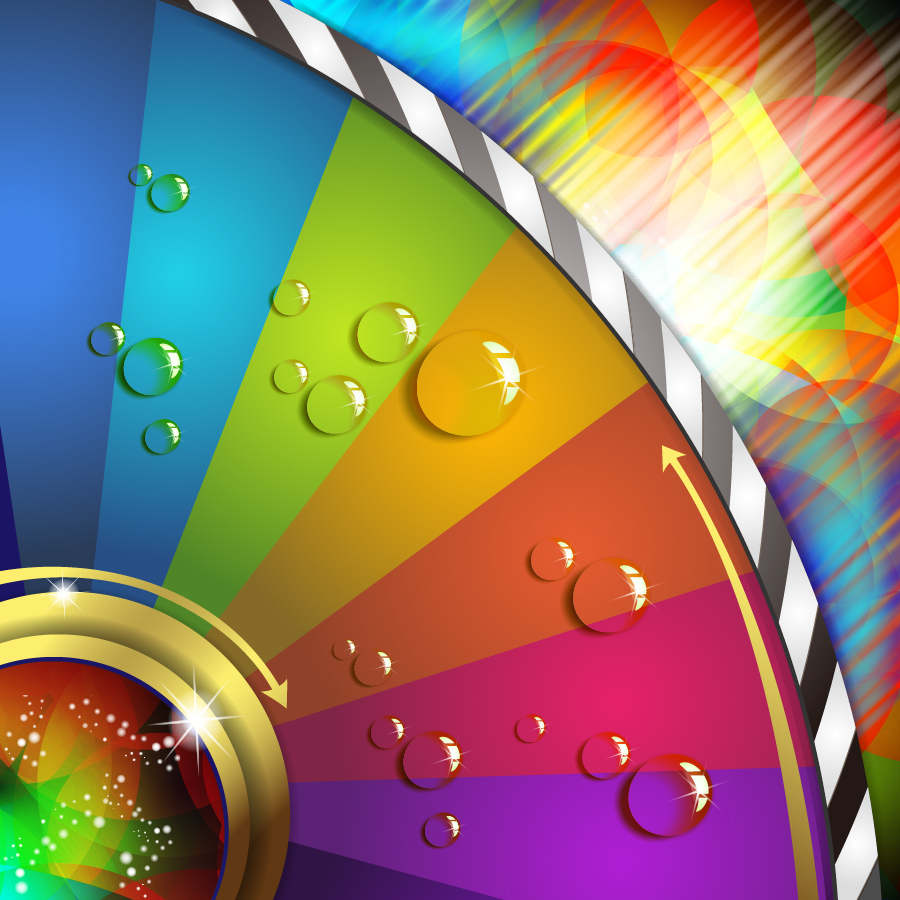 水滴が光るカラフルな回転板の背景 Colorful patterns arrows symphony water droplets イラスト素材