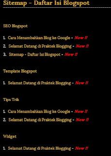 daftar isi blogspot