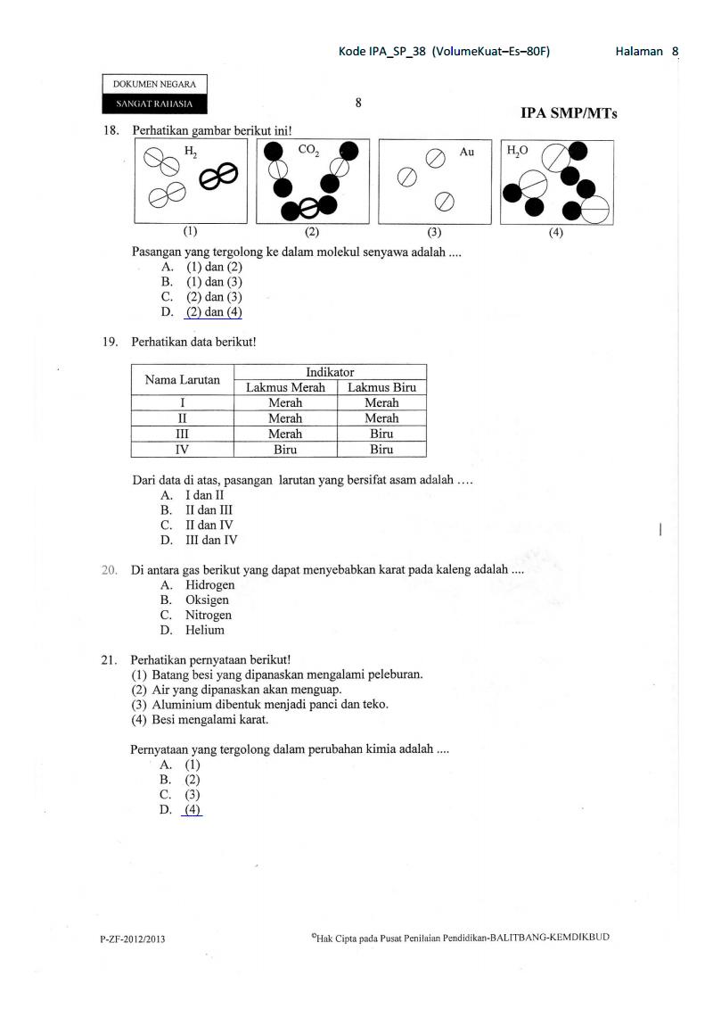 Soal Dan Pembahasan Un Ipa Paket 38 Kelas 9 Smp Ta 2012
