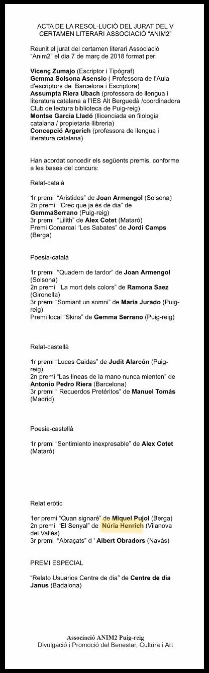 """2on PREMI Certamen Literari Associació """"anim2"""""""