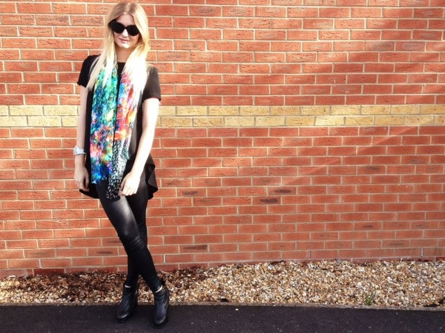 FashionFake, style blog, fashion blog, street style, silk printed scarf, digital watch, Laura Orchant scarf, Laura Orchant