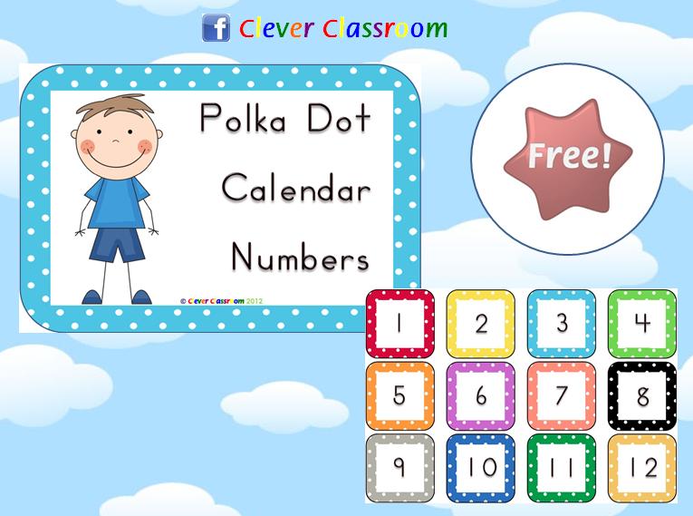 FREE Polka Dot Calendar Numbers