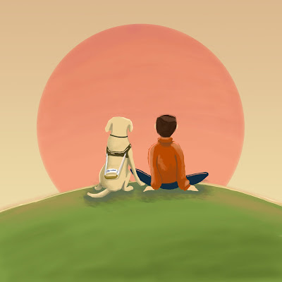 Beautiful illustration of a young man sitting next to his guide dog facing the sunset (a large red circle).