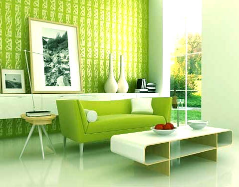 Home Interior Design With Green Color Combination