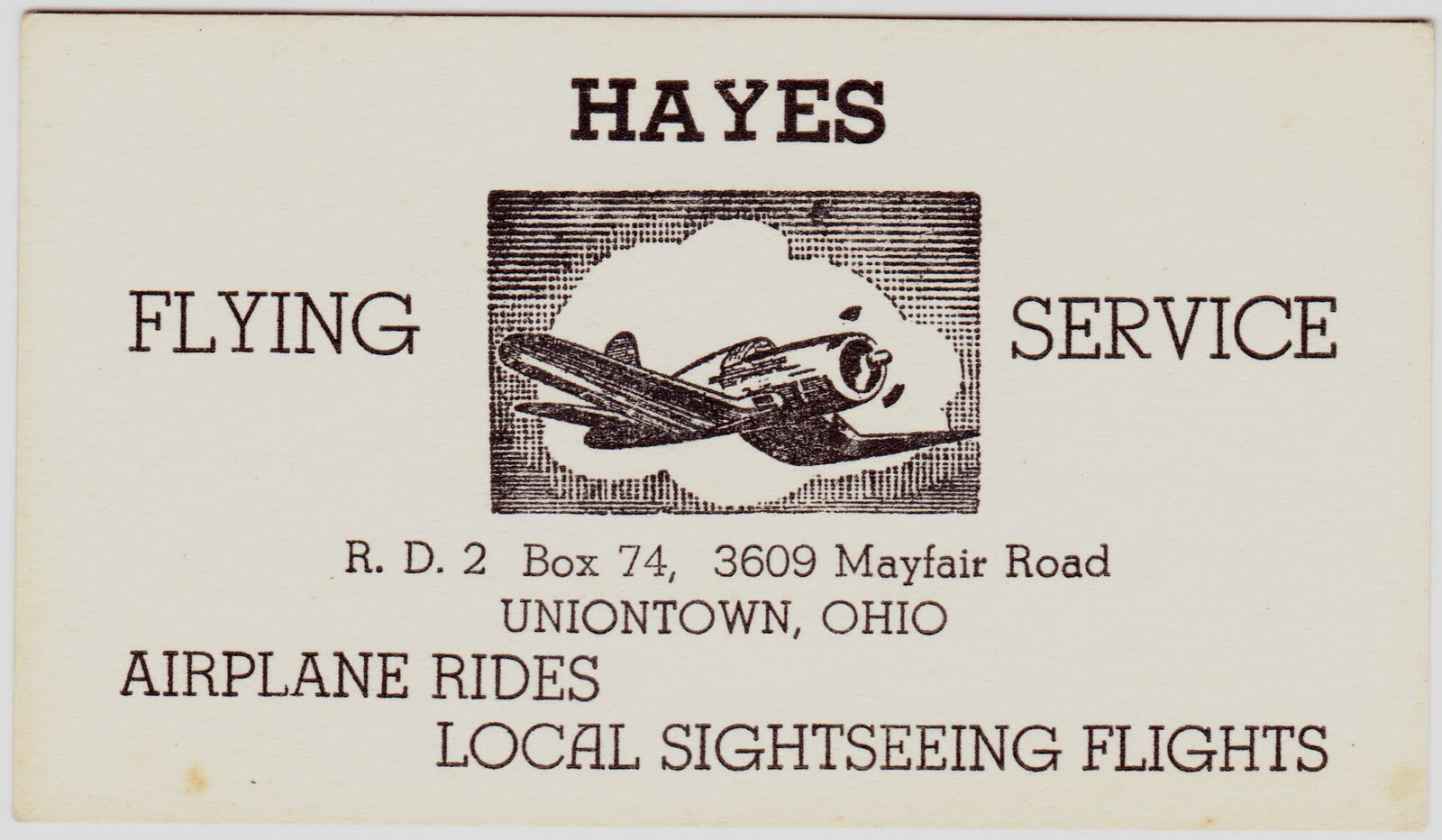 Papergreat old business card for hayes flying service old business card for hayes flying service magicingreecefo Choice Image