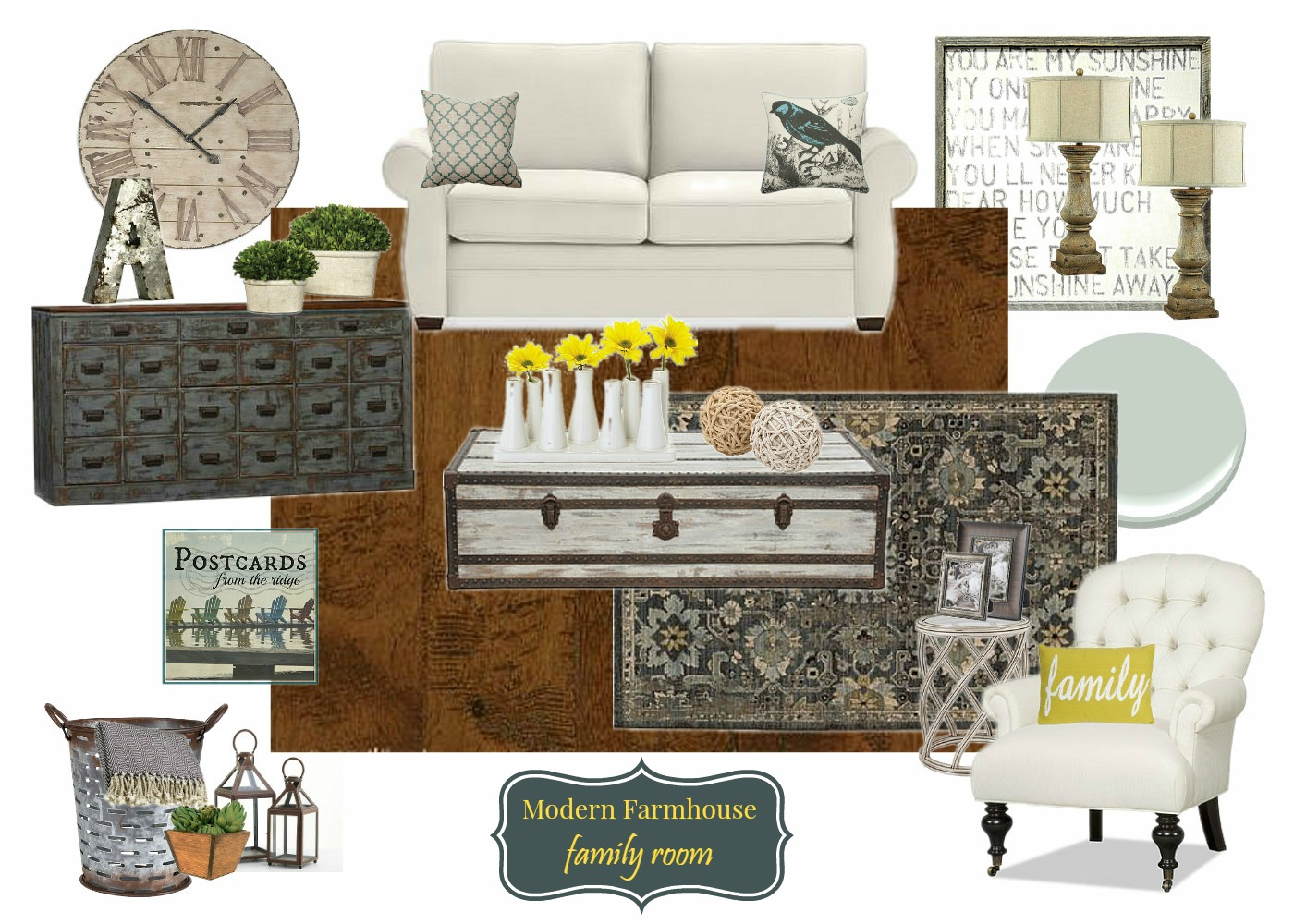 Adding a welcoming feel to the family room with Modern Farmhouse decor #inspiredhome