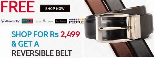 Shop for Peter England , Allen Solly, Van Heusen, People Brands worth Rs.2499 (Discounted upto 60%) and  Get A Free Reversible Belt worth Rs.1399 + Extra 10% Off for New Customers at Trendin