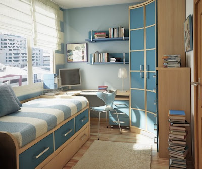 Cool teen blue dorm room