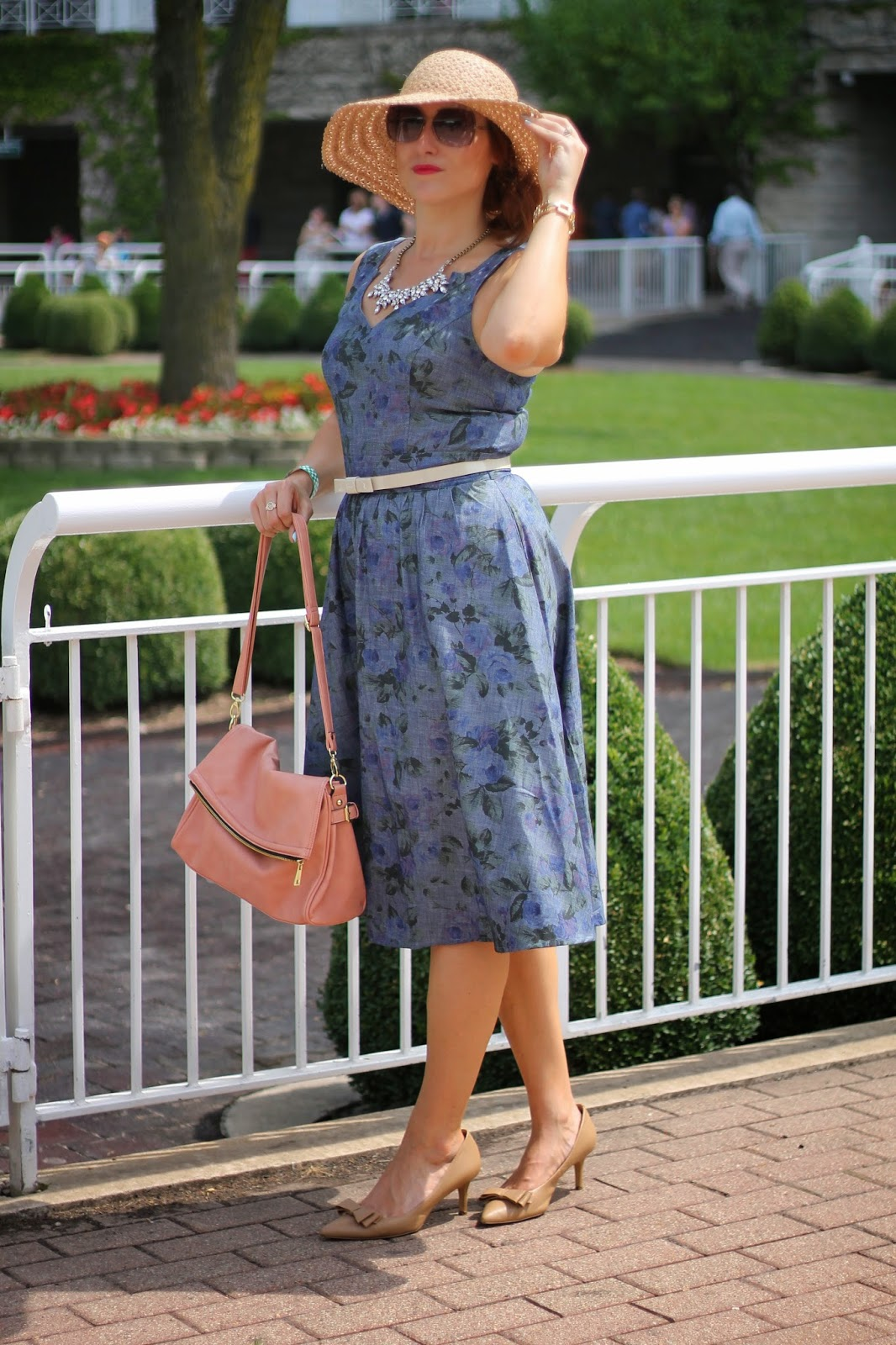 eshakti, chambray, floral, dress