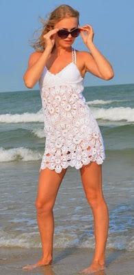 Vestido a Crochet  Blanco Sol y Mar