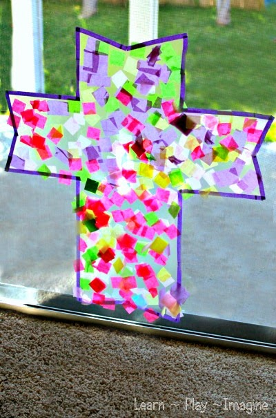 Cross suncatcher easter craft for kids learn play imagine for Cross craft for kids