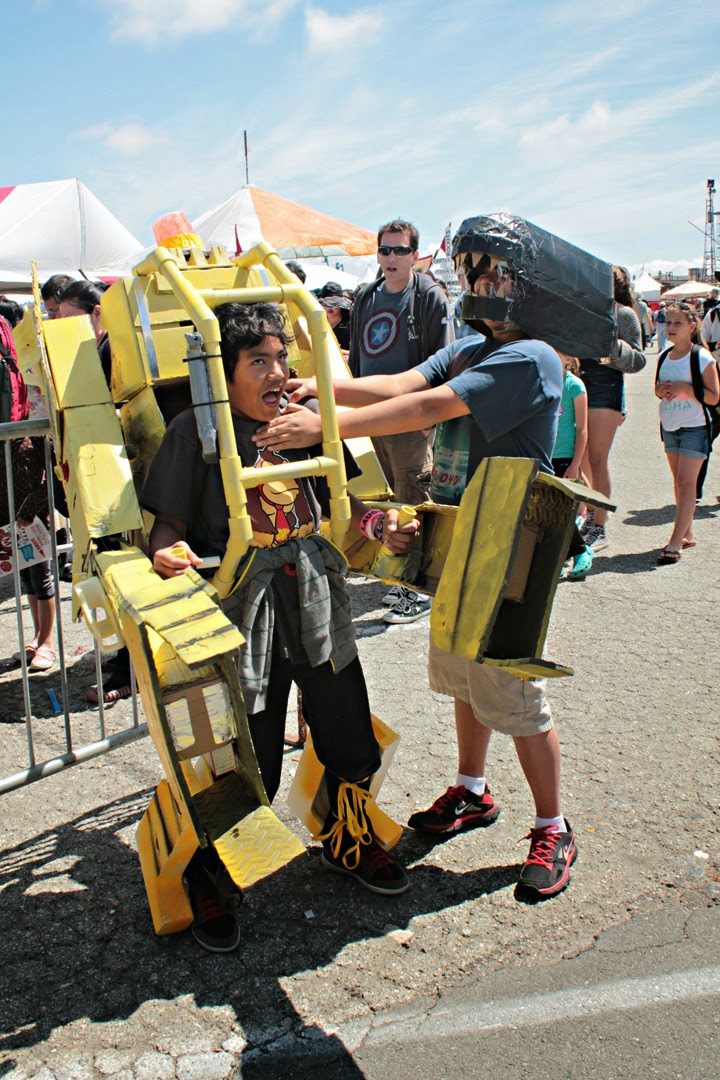 Two Maker Faire attendees showed up in costume and replayed an action scene