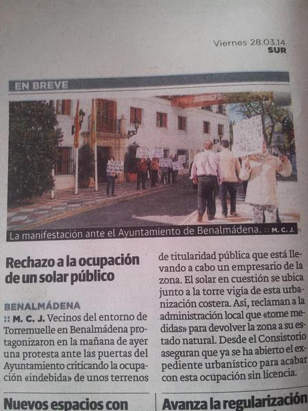 Diario Sur: Rechazo a la ocupación de un solar público
