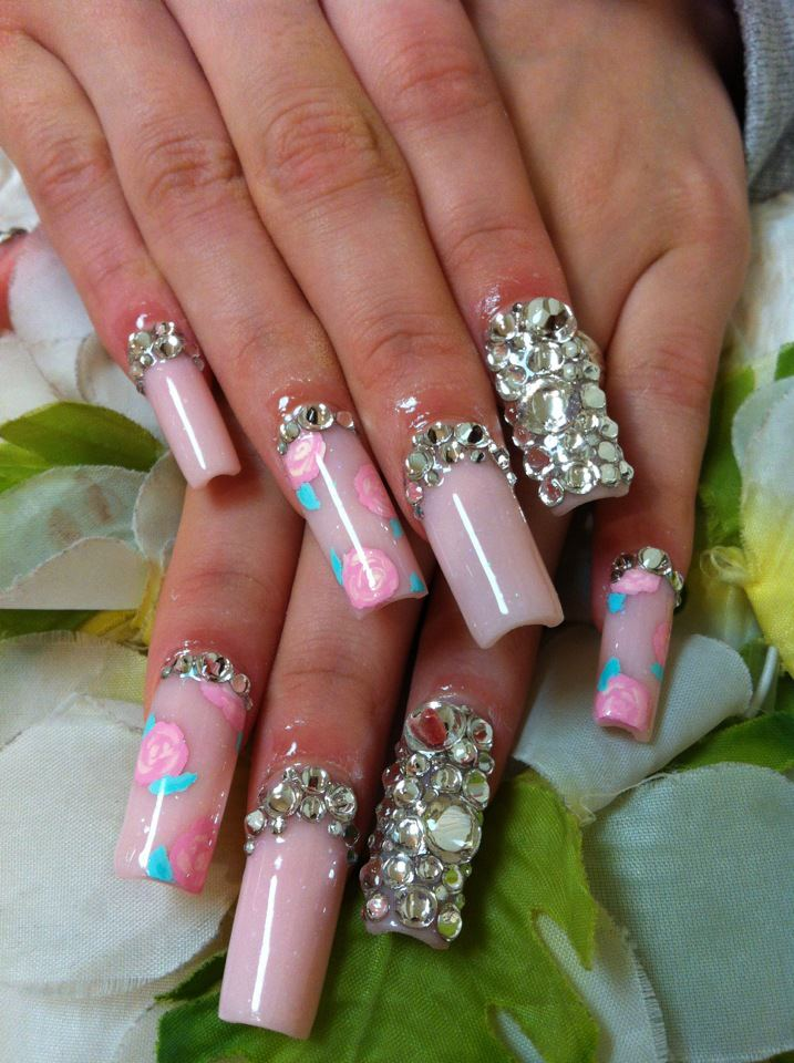 Cute Nail Designs Floral Long Nails By Ayano
