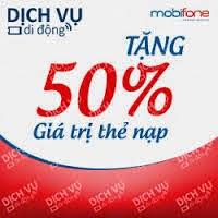 Ưu đãi 50% giá trị thẻ nạp Mobifone cho thuê bao trả trước