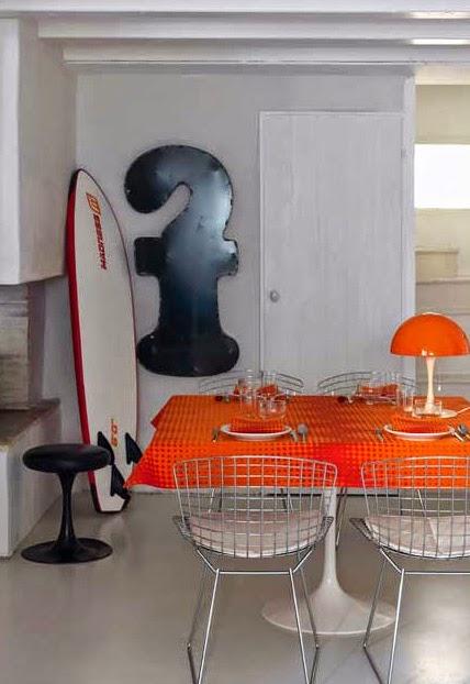 Zig Zag Orange le Jacquard francois. Mantel, camino de mesa y servilletas