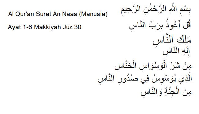 Al Quran Surat An Naas Manusia Ayat 1 6 Makkiyah Juz 30