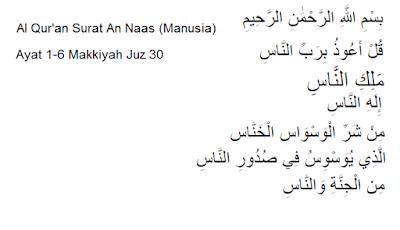 Al Qur'an Surat An Naas (Manusia) Ayat 1-6 Makkiyah Juz 30